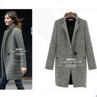 ropa - 2015 Special Offer Time limited Gray Ropa Mujer Women Coat Dresses Fashion Long Section Thick Warm Winter Models Big Yards Wool Woolen Dy112