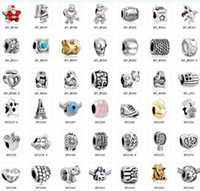 Wholesale 2014 New Mix Pandora Style Fashion Silver Loose Beads Charm Alloy Fit European DIY Jewelry Bracelets Flat Big Hole Beads