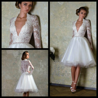 autumn love story - 2014 Wedding Dresses White Ivory sheer Back Love Story by Bien Savvy Organza A Line long sleeve deep V neck Sheer Lace Short Wedding Gowns
