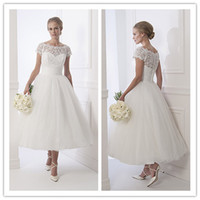 tea length wedding dress - 2015 Tea Length Wedding Dresses Designer Short Sleeve A Line Bridal Gowns Fabrics Sheer Neck Lace And Tulle Wedding Gowns