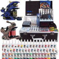 Cheap Complete Tattoo Kit 2 Pro Machine Guns 54 Inks Power Supply Needle Grips With Tattoo Box TK221