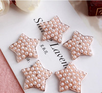 Cheap 20pcs lot DIY Alloy Rose Golden Buckles Pearl Rhinestones Buttons Golden Base Star Shape For DIY Hairpins Hair Accessories