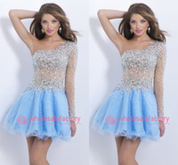 Wholesale Cocktail Homecoming Dresses with One Shoulder Beads Rhinestone Long Sleeves See Through Bodice Mini Short Organza Graduation Dresses BL9858