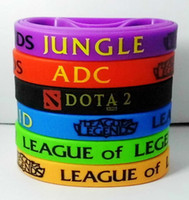 printed silicone bracelet - 6pcs LOL GAMES Souvenirs Silicone Wristband LEAGUE of LEGENDS Bracelets with ADC JUNGLE MID SUPPORT TOP Printed Band
