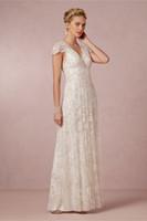 rhinestone applique - 2014 Bridal Dress A Line Portrait V Neck Organza Lace Beach Wedding Gown Beads Pearls Rhinestones Sheer Neck Cap Sleeves Sweep Train BHLDN