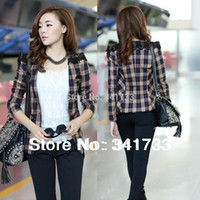 Cheap 2014 new autumn&winter Women's tailored plaid suit fashion Ladies' coat slim career woman lace shoulder design Free Shipping ts