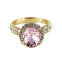 Wholesale New Luxury Alloy Gold Color Plated Pink and White Rhinestone Rings for Women Bijoux Jewelry Hot Sell