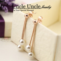 Wholesale 18K Rose Gold Plated Artificial Pearl Classic Long Styling Tassel Lady Earrings
