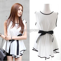 Cheap O-Neck Women Blouse Tops Best Regular Sleeveless Chiffon Shirt Peplum
