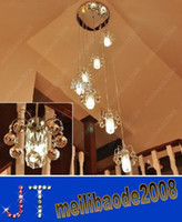 chandeliers - Staircase light long chandelier crystal lamp double spiral staircase chandelier lighting minimalist villa HSA0541