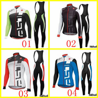Wholesale Castelli Pro Team Cycling Jersey Set Red Blue Green Black Long Sleeve With Padded Bib Trousers Bicycle Wear XS XL Bike Clothing