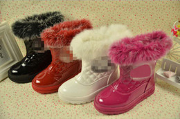 Wholesale Ems Winter Children Girl Thick Plaid Fur Snow Boots Child Leather Warm Grid Boots Kids Soft Shoes pairs Black White Red Rose Red M0995