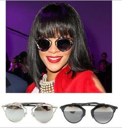 Gafas de diseño fresco en Línea-6 colores del abrigo del metal Cat Eye Glasses 2014 Nueva vendimia de la manera fresca del verano Gafas de sol Mujeres Hombres diseñador de la marca