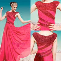 SSJ 2014 Red chiffon evening dresses with sequin cap sleeves...