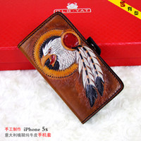 Wholesale HongKong OLG YAT Handmade leather carving Robin IPhone4s s phone cases Italian tanned Pure leather phone sets high end mobile phone case