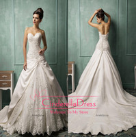 Cheap 2014 Amelia Sposa vestido de noiva Vintage A Line Wedding Dresses Sweetheart Embroidery Beaded Lace Satin Chapel Train Lace Up AS1272