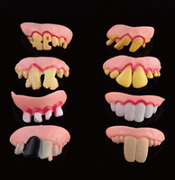 Wholesale 8 x Terrible Funny Goofy Fake Rotten Teeth Halloween Party Favor Creepy Dentures