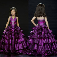 Cheap 2014 High Quality Ruched Halter Beaded Princess Pageant Dresses A Line Floor Length Tiered Grape Purple Junior Bridesmaid Dresses BH