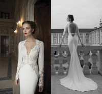 Cheap 2014 Berta Bridal Long Sleeve Wedding Dresses Lace Deep V Neck Poet Sheer Chapel Train Backless Beach Mermaid Bridal Gowns