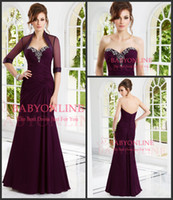 Cheap Gorgeous Mother of the Bride Dresses 2015 Sexy Sweetheart Chiffon Crystal Beaded Vintage Evening Gown With Sheer Half Sleeve Jacket 70902