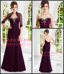 Wholesale Gorgeous Mother of the Bride Dresses Sexy Sweetheart Chiffon Crystal Beaded Vintage Evening Gown With Sheer Half Sleeve Jacket