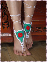 Wholesale Colorful Crochet Barefoot Sandals hippie women shoes Victorian Lace Sexy Boho Beach Barefoot Sandals