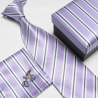Wholesale Men s High Quality Neck Tie Set Fashion silk ties Neckties Handkerchiefs Cufflinks Gift Box Pocket towel