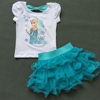 age t shirts - Girls Frozen Princess Elsa Dress T shirt Set Age Sky Blue Layered Tutu Dress Sets Frozen Clothing Sets