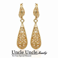 Wholesale 18K Gold Plated Retro Bohemian Design Water Drop Style Lady Earrings Jewelry