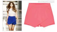 plus size pants - 2014 New fashion dresses Women s Summer Fashion Candy Colors Chiffon Tiered Zipped up Short Mini Shorts Pants pleated Skirts plus size XXL