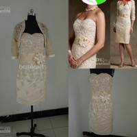 SSJ 2014 Sexy Champagne Mother Of Bride Dresses With Lace Bo...