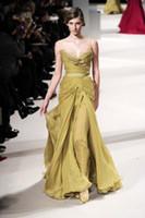 Cheap Top Temperament Side Slit Chiffon Evening Gowns 2014 Spaghetti Lace Neckline Peats Sash A-Line Ladies' Formal Dresses