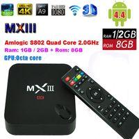 Wholesale MXIII Android Quad Core Amlogic S802 Smart TV Box XBMC MX GB GB RAM GB ROM WiFi HDMI K HDD IR Remote Control Miracast DLAN Free Ship