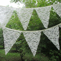 Wholesale 12 Flags M Vintage Lace Fabric Banners Personality Wedding Bunting Decor Candy Cream Party Birthday Baby Show Garland Decoration