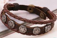 Wholesale 2016 New Bracelet Bangles Brown Vintage European Popular Cow Leather Bracelets Punk Trendsetter Tibetan Jewelry Charm bracelets for Men