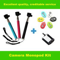 Wholesale Extendable Handheld Self portrait Monopod selfie stick Photograph Bluetooth Shutter Camera Remote Controller for iPhone Samsung DHL FREE