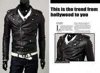 leather clothes - HOT sell leather jacket motorcycle jackets man jacket casual jacket jacket PU oblique zipper biker jacket clothing