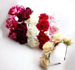 Wholesale 6PX Handmade Floral Crown Tiara Choices Rose Flower Headband Hair Garland Wedding Headpiece