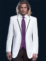 Cheap Fashion Popular White Vest Zoom 2014 Men's Suits Blazers Two Piece Two Buttons Notch Lapel Man Groomsman Formal Suit wedding Groom Tuxedos