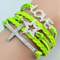 Wholesale Hot Antique Diamonds Charm Star Cross Love Infinity Mix Colors Weave Leather Bracelets Fashion Wrist Bracelets Jewellery