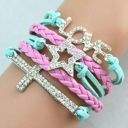 Hot Antique Diamonds Charm Star Cross Love Infinity Mix 4 Colors Weave Leather Bracelets Fashion Wrist Bracelets Jewellery Free Shipping