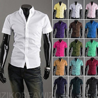 Wholesale New Summer Shirt Mens Slim Fit Unique Neckline Stylish Short Sleeve Shirts Men s Clothing Slim Casual shirts Blue XXXL