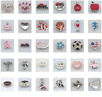 Charms Slides, Sliders mix designs Wholesale 200pcs lot mix designs floating locket charms beads for glass floating living locket