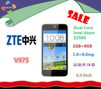 Dual Core Android ZTE ZTE Geek V975 Dual Core Intel Atom Z2580 2.0GHz 2GB+8GB 8.0MP Camera 5 inch IPS 1080P HD screen Android 4.2 WCDMA&GSM Smartphone DHL Free