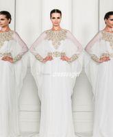 Cheap 2014 Zuhair Murad Arabic Dubai Abaya Kaftan Muslim Cheap Chiffon Prom Dresses Long Sleeves Crystal Beaded 2015 Formal Evening Gowns BO3486