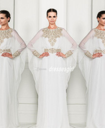 Wholesale Zuhair Murad Arabic Dubai Abaya Kaftan Muslim Cheap Chiffon Prom Dresses Long Sleeves Crystal Beaded Formal Evening Gowns BO3486