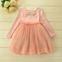 Wholesale High Quality Autumn New Arrival Girls Dressy Long Sleeve Bow Cotton Patch Lace Tutu Girl Dresses Girl s Princess Dress Skirts J1314