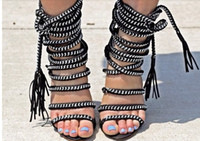 Wholesale 2014 New arrival women shoes design high heels gladiator boots spikes rope criss cross pump sandals ankle wrap dress shoes