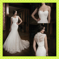 Wholesale 2014 New Arrival Mermaid Lace Wedding Dresses Bridal Gown With White Detachable Jacket Sheer Back Covered Button Crystals Sweep Train