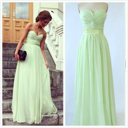 Wholesale Custom Made Real Image In Stock Strapless Ruched Bodice Ribbon Belt A Line Chiffon Lime Green Long Cheap Bridesmaid Dress
